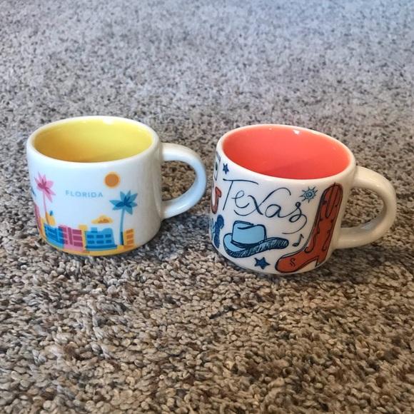 2 Mini Starbucks ornament mugs